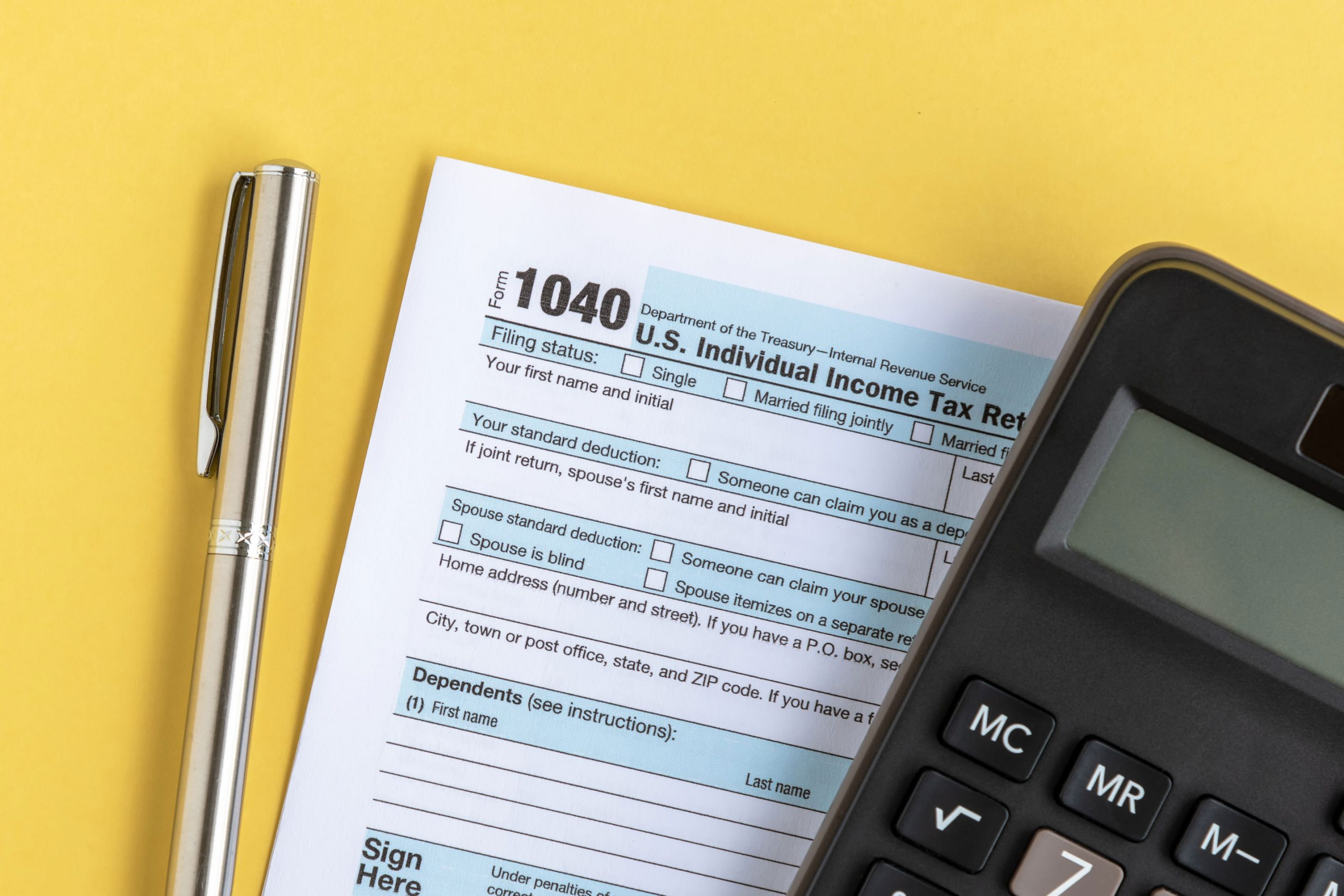 US Individual Income Tax Return Forms 1040